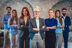 Group of happy business people and company staff in modern office. Representig company Royalty Free Stock Image