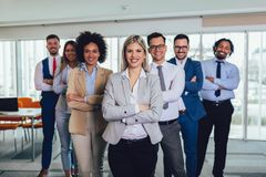 Happy business people and company staff in modern office, representig company.Selective focus royalty free stock images