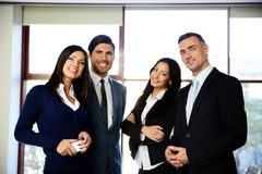 Group of happy business people standing royalty free stock photo