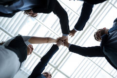 Group of happy businesspeople giving high five to each other. Low angle view of happy businesspeople giving high five to each other in office premises stock photos