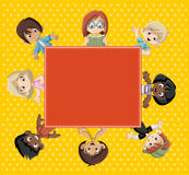 Group of happy cartoon children. Royalty Free Stock Images