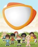 Group of happy cartoon children. Stock Images