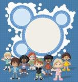 Group of happy cartoon children. Stock Photos