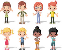 Group of happy cartoon children Royalty Free Stock Images