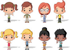 Group of happy cartoon children Stock Image
