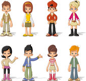 Group of happy cartoon children Stock Photography