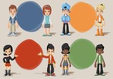 Group of happy cartoon children Stock Images