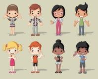 Group of happy cartoon children Stock Photo