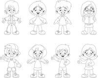 Group of happy cartoon children Royalty Free Stock Photo