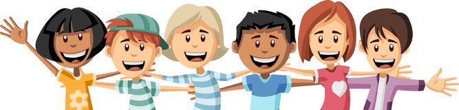 Group of happy cartoon children hugging each other. Big hug Royalty Free Stock Photography