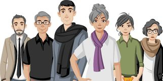 Group of happy cartoon old people. Seniors Stock Photo