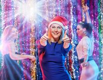 Good New year party. Group of happy cheerful girls celebrating new year party Royalty Free Stock Photos