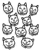 Happy Cheery Smiling Cats. A group of happy cheery smiling cats friendship vector illustration