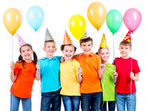 Group of happy children with balloons. Royalty Free Stock Photos