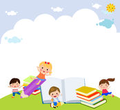 Group of happy children and books Royalty Free Stock Photography