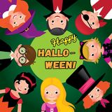 Group of happy children in carnival costumes of Halloween. Invit Royalty Free Stock Photography