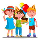 Group Of Happy Children Celebrating Birthday Together Vector. Isolated Illustration vector illustration