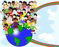Group of happy children of different nationalities in the world Stock Photos