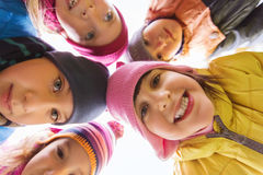 Group of happy children faces in circle Stock Photography
