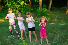 Group of happy children playing tug of war outside on grass stock image
