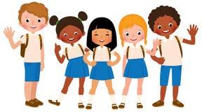 Group of happy children in school uniform Stock Image