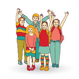 Group of happy children shadow isolate on white. Royalty Free Stock Image