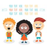 Group of happy children smiling on white. Background Back to school theme Vector cartoon characters Stock Image