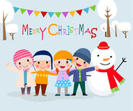 Group of happy children and snowman. Royalty Free Stock Photos