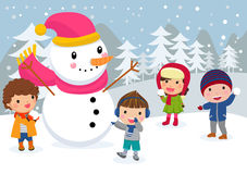 Group of happy children and snowman. Royalty Free Stock Images