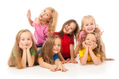 Group of happy children. On white Royalty Free Stock Photo