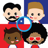 Group of happy Chile's supporters Royalty Free Stock Photos