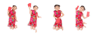 Group of happy chinese new year jump and smile ,asian girl holdi Royalty Free Stock Photography
