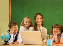 Group of happy classmates royalty free stock photography