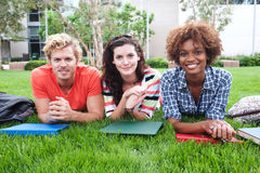 Group of happy college students in grass Stock Images