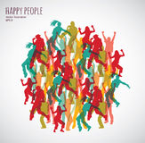 Group happy color dancing people. Royalty Free Stock Images