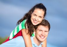 Group of happy couple having fun outdoors Stock Photo