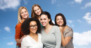 Group of happy different women in casual clothes Stock Photos
