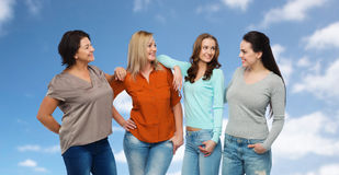 Group of happy different women in casual clothes Stock Photography