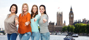 Group of happy different women in london city Stock Photography