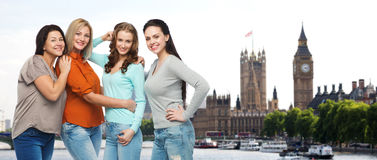 Group of happy different women in london Royalty Free Stock Photo