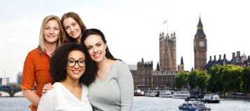 Group of happy different women over london city Royalty Free Stock Photography