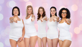 Group of happy different women pointing on you Royalty Free Stock Photos