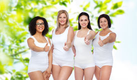 Group of happy different women showing thumbs up Royalty Free Stock Photo