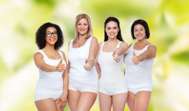 Group of happy different women showing thumbs up Royalty Free Stock Images