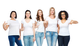 Group of happy different women in white t-shirts Stock Images
