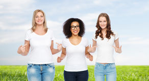 Group of happy different women in white t-shirts Royalty Free Stock Photography
