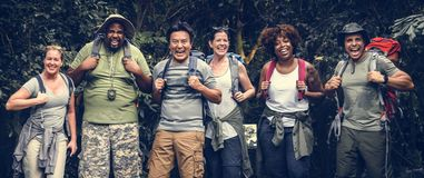 Group of happy diverse campers royalty free stock photo