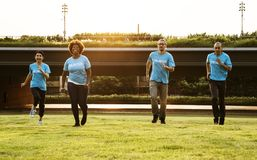 Four People Standing on Green Grass Field royalty free stock photography