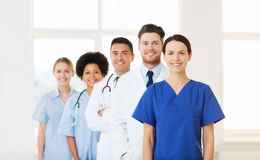 Group of happy doctors at hospital Royalty Free Stock Image