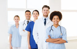 Group of happy doctors at hospital Royalty Free Stock Images